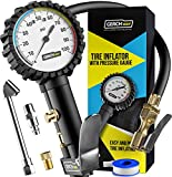 Tire Inflator with Pressure Gauge and Longer Hose - Most Accurate, Heavy Duty Air Chuck with Gauge for Air Compressor Tire Inflator Attachment - 100PSI…