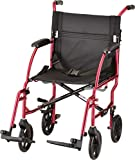 NOVA Medical Products NOVA Ultra Lightweight Transport Chair, Weighs Only 18.75 lb, Compact for Travel, Red