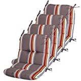 Comfort Classics Inc. Set of 4 Outdoor Chair Cushions 20 x 36 x 3 H-19 in Sunbrella Fabric Sumatra Carnival Made in USA