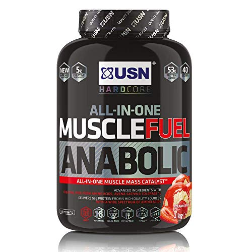 USN Muscle Fuel Anabolic Strawberry Protein Shake 2KG: Workout Boosting All in One Muscle Gain Protein Powder