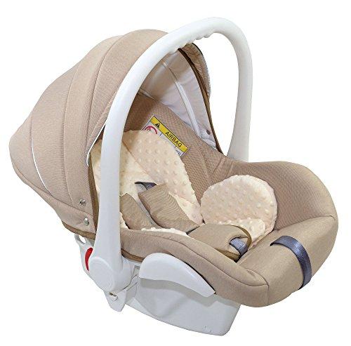 Clamaro Babyschale Auto \'JUNO white\' ultraleicht 2,95 kg mit Anti-Shock Schaumstoff, Gruppe 0+ (0-13 kg) ECE-R 44/04 - Baby Autositz inkl. Sonnenverdeck und Fußabdeckung - Beige Leinen