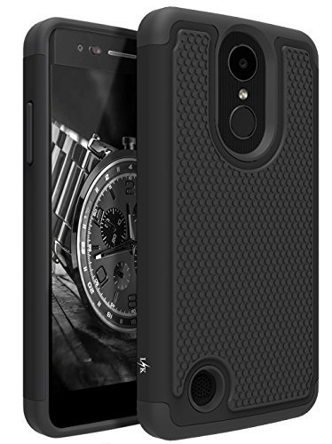 LK Case for LG Aristo, LG Phoenix 3, LG K8 2017, LG Fortune, LG Risio 2, LG Rebel 2 LTE, [Shock Absorption] Drop Protection Hybrid Armor Defender Protective Case Cover (Black)