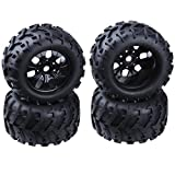 RC 1/8 Monster Truck 3.2' Tires & Wheel Rims with Foam Inserts 17mm Hex Hub Baja Tyre for Redcat Traxxas HSP Exceed (Set of 4)