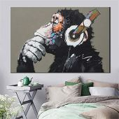 MhY Cuadro de Animales Grandes Lienzo Impreso Pintura Moderna Divertido Pensamiento Mono con Auriculares Cartel de Arte de Pared para decoración de Sala de Estar 60cm_x90cm_No_Frame