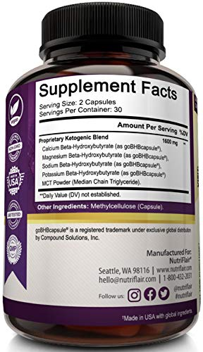 NutriFlair Keto Diet Pills 1600mg - Advanced Ketosis Supplement - Natural BHB Salts (beta hydroxybutyrate) with MCT Oil Powder, Utilize Fat for Energy, Boost Focus - Best Keto Pills for Women and Men 9