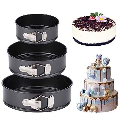 nuosife Molde de Horno Desmontable, Molde para tartas redondo ajustable con bisagras, Molde para tartas de diámetro redondo, El diámetro es de 12cm Altura: 4,5 cm, 18cm y 22cm, Las alturas son: 6,5 cm