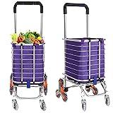 Folding Shopping Cart Grocery Utility Lightweight Stair Climbing Cart...