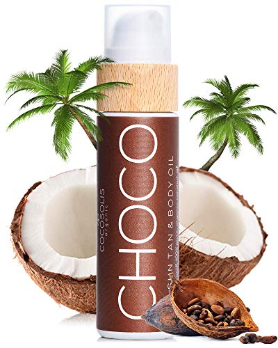 COCOSOLIS Choco - Acelerador de Bronceado con Vitamina E, Loción Bio Oil para un bronceado natural – Bronceadores Solares choco - Seis aceites naturales para una piel radiante - 110 ml