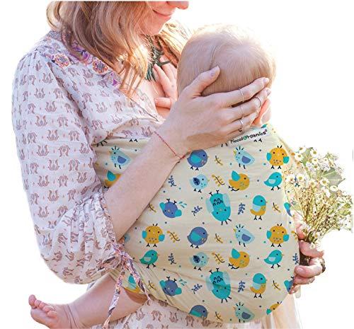 PiccolOrganics, Fascia Neonato Porta Bebe - BIO GOTS Fascia Porta Bambino Fatta a Mano Marca Europea Cotone Biologico Organico CERTIFICATO Neonati a Bambini Marsupio Bebè Bimbo Elastica