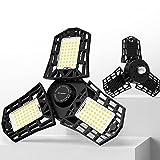 2-Pack LED Garage Light, 60W LED Shop Light with E26/E27 Medium Base, 6000LM Triple LED Garage Lighting, 6500K Screw in LED Tri Light for Attic, Basement