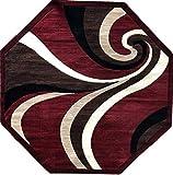 Americana Modern Octagon Area Rug Red Swirl Design 144 (7 Feet 3 Inch X 7 Feet 3 Inch)