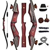 SNOW MONSTER 60' Takedown Recurve Bow with Antler Screws Adults Archery Hunting Longbow Right Hand...