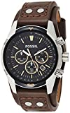 FOSSIL Coachman Chronograph Brown Leather Watch / Analogue Men's Watch with Quartz Movements and Black Dial - Stopwatch, Tachymeter and Timer Functionality A brown genuine leather strap (22mm) comes with a silver gleaming stainless steel case (44mm) ...