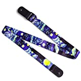 Van Gogh'Starry Night' Ukulele Strap & Leather Ends Shoulder Strap for Soprano Concert Tenor and Baritone Ukulele (Uke-Starry Night)