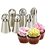 Hofumix Russian Piping Tips Icing Piping Tips Sets Russian Ball Tips Buttercream DIY Baking Tools School Prevailing Torch Russian Icing Piping Nozzles Ball Baking Kits 6pcs