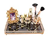 Simmer Stone Makeup Organizer Tray, Decorative Glass Vanity Tray for Perfume, Makeup, Jewelry and Decor, Rectangular Cosmetic Storage for Dresser, Counter and Coffee Table, Black Marbling