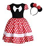 Baby Girls Polka Dots Xmas Princess Leotard Dress up Halloween Cosplay Costume Birthday Fancy Party Outfit Christmas Bowknot Ballet Dance Tulle Tutu Dress with 3D Mouse Ears Headband #03 Red 4-5