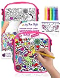 Purple Ladybug Color Your Own Messenger Bag For Girls Craft Kit with Mermaid Design - Pencil Case with Unicorn Design Included/Great Girl Gift Idea, Fun & Creative DIY Art Activity Set for Kids