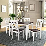 Polibi 5-Piece Wood Dining Table Set Home Kitchen Table Set with 4 High Back Dining Chairs (White+Cherry)