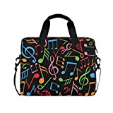 CCDMJ Laptop Case Colorful Music Musical Note Laptops Sleeve Shoulder Messenger Bag Briefcase Notebook Computer Tablet Bags with Strap Handle for Women Man Boys Girls 16 Inch