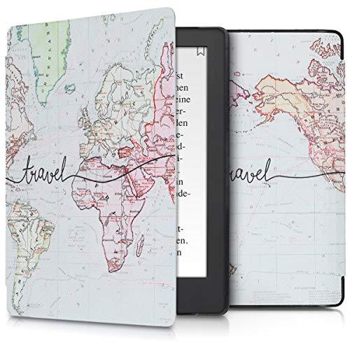 kwmobile Cover Compatibile con Kobo Aura H2O Edition 2 - Custodia a Libro in Pelle PU - Flip Case per eReader - Mappa del Mondo Nero/Multicolore