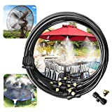 """Shinea Misting Cooling System 32.8ft with 12 Copper Metal Mist Nozzles and a Connector(3/4"""") for Trampoline Patio Garden Greenhouse waterpark (32.8ft, Brass)"""