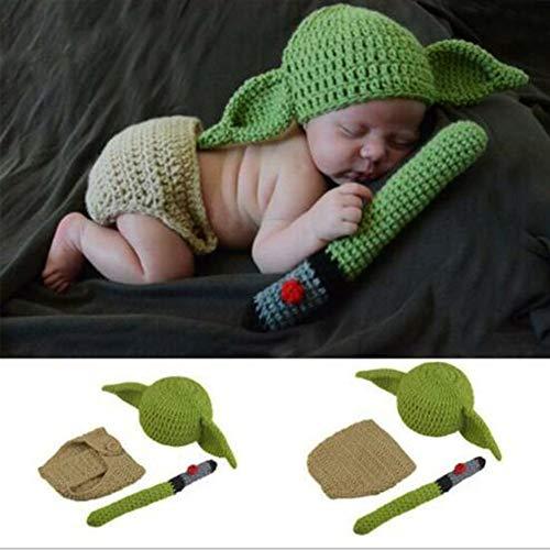 Set di accessori per fotografia per bambini, set di abiti da Yoda a uncinetto, fatti a mano, per fotografia di neonati
