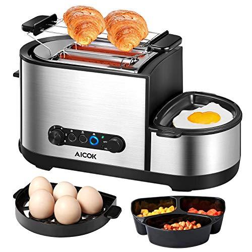 Aicok Grille Pain, 5 en 1 Multifonction Grille Pains Inox avec Mini Poêle électrique, Cuiseur à œufs, Cuiseur Vapeurs, 2 Fentes Extra-Larges, 7 Niveaux de Brunissage, Sans BPA, 1250W, Argent