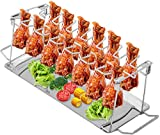 Finderomend Chicken Leg Wing Rack 14 Slots Stainless Steel Metal Roaster Stand with Drip Pan for Smoker Grill or Oven, Dishwasher Safe, Great for BBQ, Picnic- Dishwasher Safe Barbecue Accessories