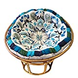 COTTON CRAFT Papasan - Polly Peacock - Blue - Overstuffed Chair Cushion, Sink into Our Thick Comfortable and Oversized Papasan, Pure Cotton Duck Fabric, Fits Standard 45 inch Round Chair