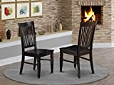 East West Furniture Weston kitchen chairs - Wooden Seat and Black...