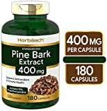 Horbaach Pine Bark Extract 400 mg   180 Capsules   Max Potency   Standardized to Contain 95% Proanthocyanidins   Non-GMO, Gluten Free Supplement