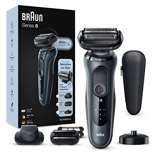 Braun Series 6 60-N4820cs Electric Shaver, Foil Man Beard Shaver, With Charging Base, 2 Accessories, EasyClick, Dry And Wet Use, Rechargeable, Cordless, Gray