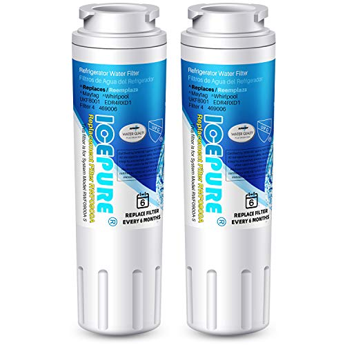 ICEPURE UKF8001 Replacement Whirlpool Filter 4, Everydrop EDR4RXD1, FMM-2, Maytag UKF8001AXX-200, 9084, 4396395, MPF15090, WF-UKF8001,WF295,SGF-M9,Puriclean II,RWF0900A Refrigerator Water Filter,2PACK