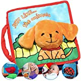 Premium Soft Baby Book First Year, Cloth Book with Crinkly Sounds, Fun Interactive Toy, Fabric Book for Babies & Infant 1 Year Old (Boy, Girl), Cute Baby Shower Gift, Touch and Feel Activity