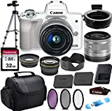 Canon EOS M50 Mirrorless Digital Camera (White) & 15-45mm STM Lens w/EOS M Mount Adapter + 32GB...