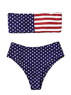 Features:American Flag Print, High Waist, Bikini for Women Wireless, strappyless, bandeau, high cut bikini set Soft with Good Elasticity, Comfy to Wear OCCASIONS: Tropical Vacation, Beach Party etc Please refer to the size measurement in image before...