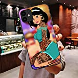Ninetee Tattoos Princess Jasmines Punk Soft Case for iPhones 11 Pro Max Xs 7 8 Plus X XR XS Max Luxury Cute Cover (B2, for iPhone X XS)