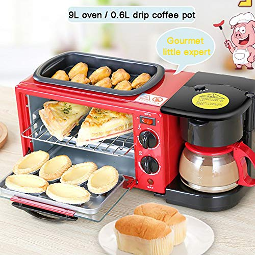 MAOMAOQUEENss 3-In-1-Elektro-Minibackofen Mit Antihaftbeschichteter Pfanne Und Kaffeemaschine, Elektrische Multifunktions-FrüHstüCksmaschine, 9-L-Backofen, 0,6-L-Kaffeemaschine, Red