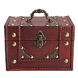 Caja De Almacenamiento De Caja De Madera Roja Retro Caja De Almacenamiento De Joyería Caja De Joyería De Viaje Portátil con Cerradura