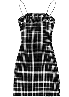 MATERIAL: 95% Polyester, 5% Spandex, Soft and comfortable fabric, Fabric has some stretch DESIGN: Pull On closure, Summer Plaid Bodycon Cami Dress FEATURE: Plaid, Spaghetti Strap, Slim Fit, Pencil, Bodycon, Fashionable SUITABLE OCCASIONS: Perfect for...