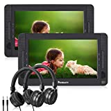 NAVISKAUTO 10.1' Dual Screen Portable DVD Player for Car, Headrest Video Player with Headphones, 5-Hour Rechargeable Battery and Last Memory