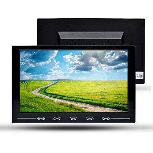 TOGUARD Schermo 9 Pollici LED Monitor Bottoni Tattili Ultra-Sottile in Colore Full HD 1024 * 600, con Scala di Visualizzazione 16:9, Alto Oratore Integrato, Port VGA/AV/HDMI