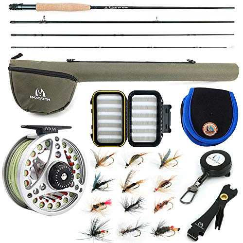 "M MAXIMUMCATCH Maxcatch Extreme Fly Fishing Combo Kit 3/5/6/8 Weight, Starter Fly Rod and Reel Outfit, with a Protective Travel Case (8wt 9'0"" 4pc Rod,7/8 Reel)"