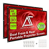 Akia Screens 120 inch Indoor Outdoor Collapsible Portable Projector Screen 16:9 Anti-Crease Foldable Dual Front Rear 8K 4K Ultra HD 3D Ready Movie and Home Theater AK-DIYOUTDOOR120H1 (2pcs Material)