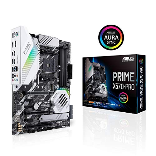 ASUS Carte Mère Gaming Prime X570-PRO AMD AM4 Ryzen 3000 (14 DrMOS power stages PCIe 4.0 M.2 DDR4 Intel LAN HDMI DP SLI CFX SATA USB 3.2 Gen 2 Type-A Type-C Aura Sync RGB lighting ATX)