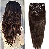 20-60cm 65-120g Extensiones de cabello real Clip 100% Remy Cabello humano Recto Corto Alargamiento 20cm # 2 ...