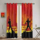 DONEECKL Teen Room Kitchen Curtain Men Playing Baseball in The Town City Park Tall Buildings Urban Scenery for Living Room or Bedroom W52 x L84 Inch Red Yellow Black