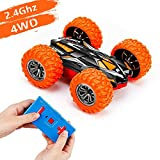 Remote Control Car for Kids - 2.4 GHz High Speed Mini RC Car Toy with Extreme Rotating & Double-Sided Flip 4WD Off-Road Function, Micro RC Stunt Cars for 3 Year Old Boys & Girls of Best Gift (Orange)