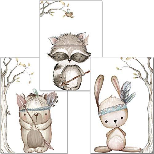 artpin® 3er Set Poster Kinderzimmer - A4 Bilder Babyzimmer Waldtiere - Deko Junge Mädchen (P23)